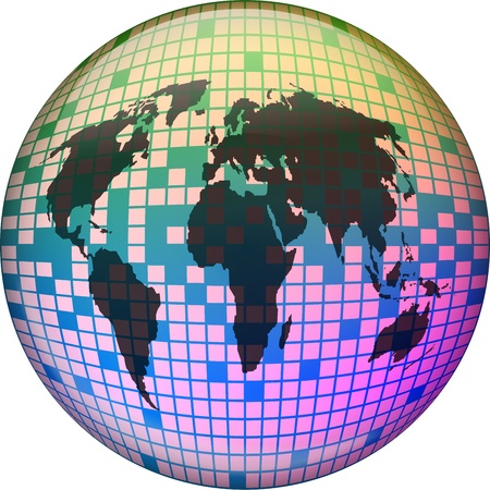 prawny: Abstract illustration of a world globe made up of square pixels.