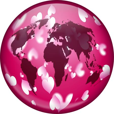prawny: Pretty pink illustration of a world globe covered in love hearts. Love concept image.