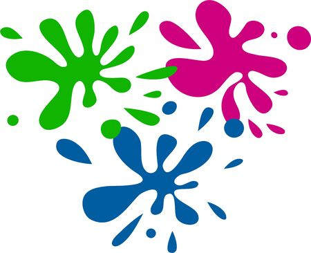 prawny: Three splatterings of different coloured ink or paint.