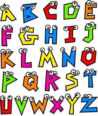 spelling: Funny made up colourful letters of the alphabet with cute cartoon eyes.