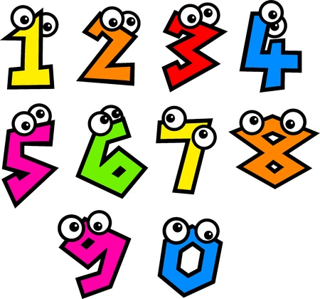 numerais: Colourful numbers with cute cartoon eyes isolated on white. Banco de Imagens