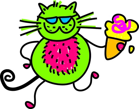prawny: Cute cartoon whimsical illustration of a cat holding an ice cream.