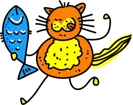 Cute cartoon illustration of a hungry cat who has caught a fresh fish. Stok Fotoğraf
