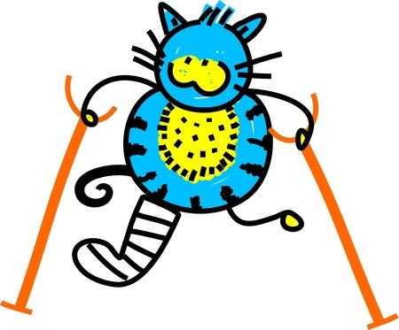 pierna rota: Ilustración de dibujos animados lindo de gato con una pierna rota y muletas.