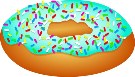 prawny: Illustration of an iced doughnut covered in sprinkles isolated on white.