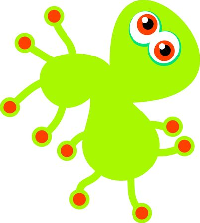 Cute cartoon graphic illustration of a green germ isolated on white. illustration