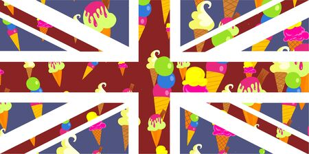 prawny: Fun and colourful illustration of the British Union Jack flag covered in delicious ice cream cones.