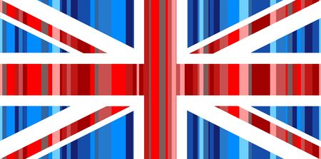 prawny: Illustration of the Union Jack flag of Great Britain made up of lots of red and blue stripes.