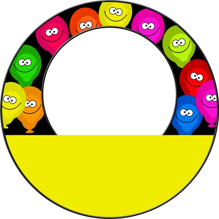 birthday border: Circular image border design made up of colourful birthday party balloons with happy faces. Just add your own photo or text in the white space.