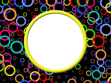 prawny: Artistic abstract photo border frame design with lots of colourful retro rings.
