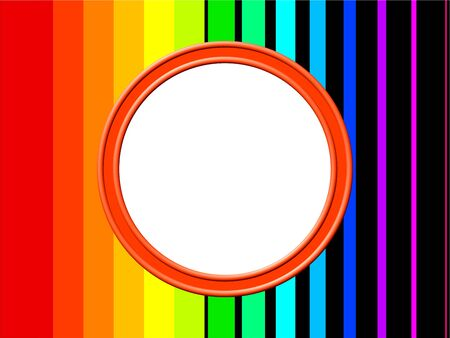 prawny: Artistic abstract modern style photo frame border design with rainbow coloured stripes. Stock Photo