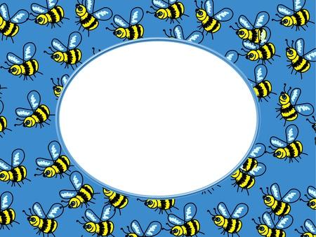 Cute cartoon whimsical bee photo frame border design. photo