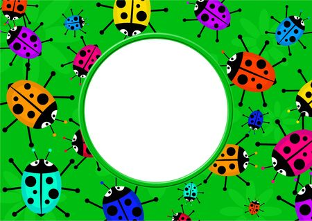 Cute cartoon ladybug photo frame border design. Stock Photo - 9679509