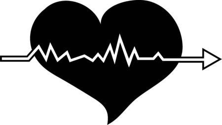 beating: Simple but bold black and white illustration of a heart shape with pulsations running through it to represent the beating sound. Stock Photo