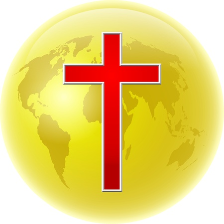 prawny: Bold colourful illustration of a gold coloured globe of the whole world with a bright red cross symbol designed over the top.