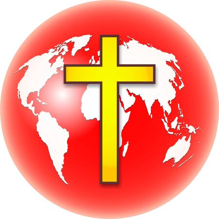 prawny: Bold colourful illustration of a red and white coloured globe of the whole world with a bright yellow cross symbol designed over the top. Stock Photo