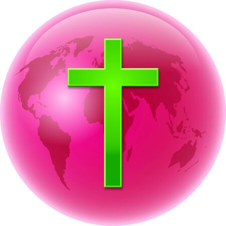 prawny: Bold colourful illustration of a pink coloured globe of the whole world with a bright green cross symbol designed over the top.