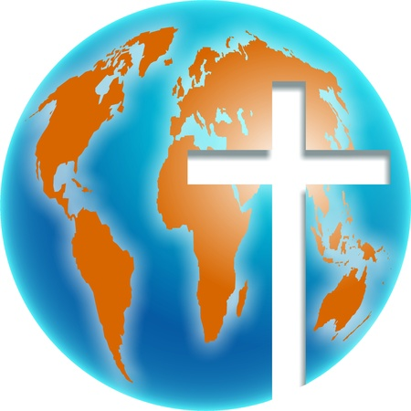 cross cut: Bold colourful illustration of a blue and orange coloured globe of the whole world with a bright cross symbol cut out of it.