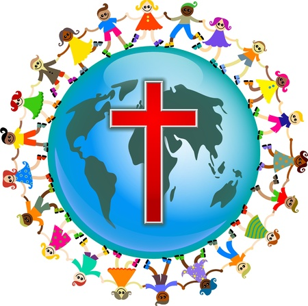 christian faith: Cute illustration of a group of happy and diverse children holding hands around the world with a red cross symbol designed onto it. Christian concept image.