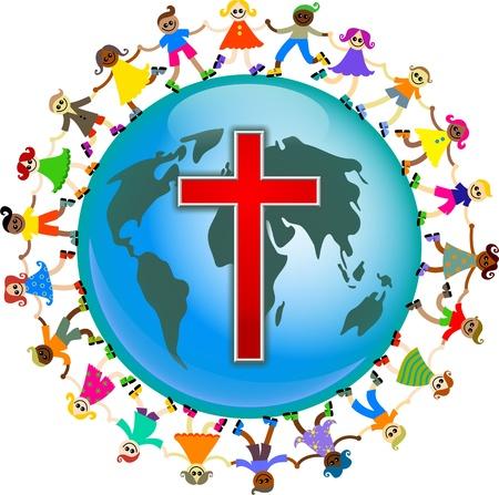 rood kruis: Leuke illustratie van een groep gelukkig en divers kinderen hand in hand over de hele wereld met een Rode Kruis symbool ontworpen op het. Afbeelding van het Christelijke concept. Stockfoto