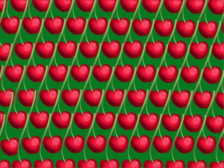 prawny: Juicy red and green cherry wallpaper background design.