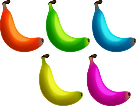 genetically: A group of very tasty looking bananas in different colours. Maybe they have been genetically modified. Stock Photo
