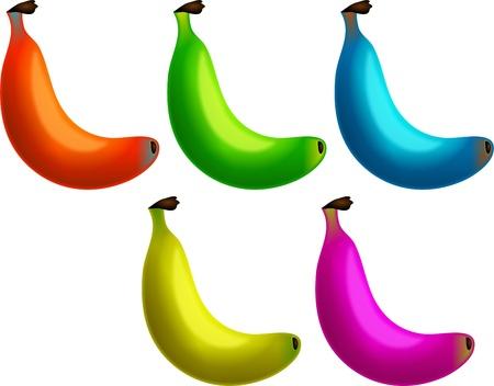 genetically modified: Un gruppo di guardare molto gustoso banane in diversi colori. Forse essi geneticamente modificati.