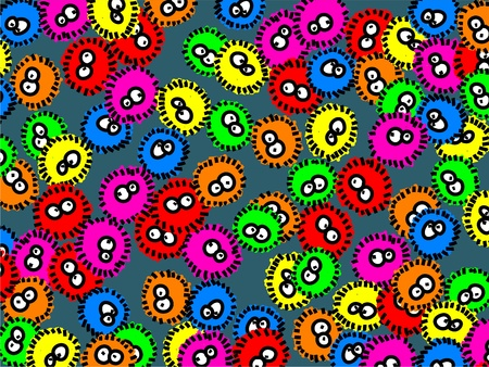 prawny: Cute cartoon colourful germs forming a wallpaper background design.