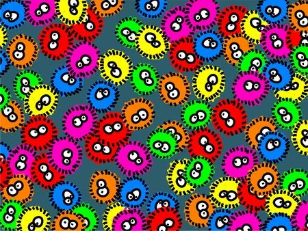microscopisch: Cute cartoon kleurrijke kiemen vormen een behang achtergrond ontwerp.