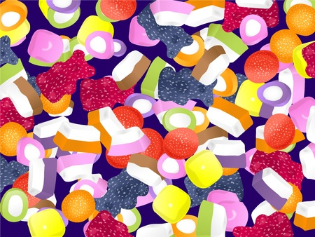 dolly: Illustration of a colourful dolly mixture candy wallpaper background design.