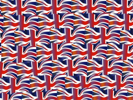 Illustration of a wavy union jack flag of the United Kingdom repeated to create a wallpaper background design. illustration