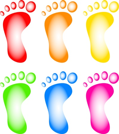 Illustration of a collection of six human footprints in different colours isolated on white. illustration