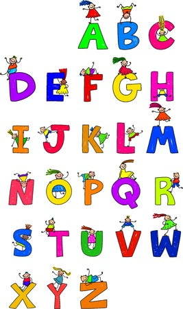 child s: Illustration of letters of the alphabet in uppercase form with little boys and girls climbing over each character.