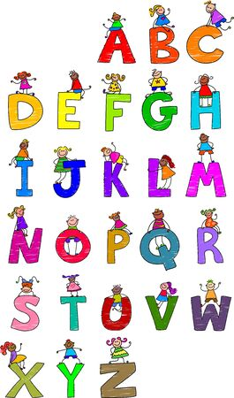 cartoons: Illustration of letters of the alphabet in uppercase form with little boys and girls climbing over each character.