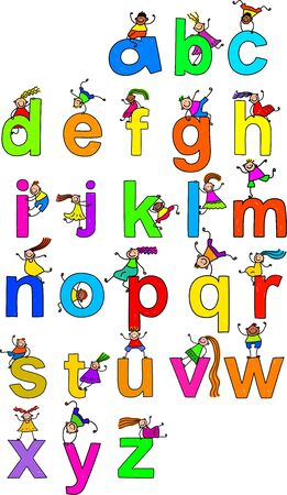 Illustration of letters of the alphabet in lowercase form with little boys and girls climbing over each character. illustration