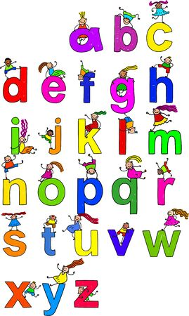 l boy: Illustration of letters of the alphabet in lowercase form with little boys and girls climbing over each character. Stock Photo