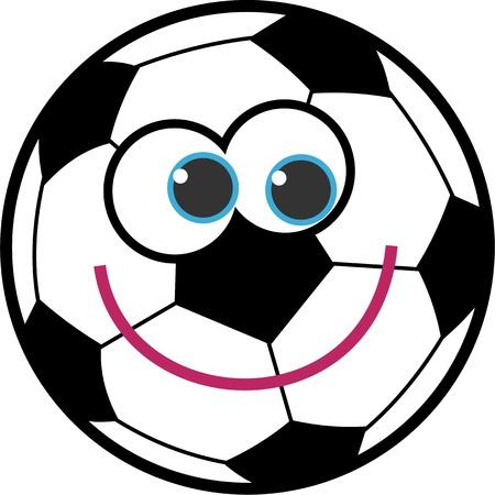 Bal�n de f�tbol lindo dibujo animado con una cara sonriente feliz. Foto de archivo - 10113231