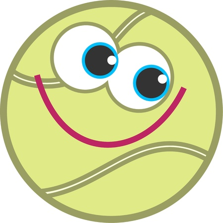 smile ball: Cute cartoon tennis ball with a happy smiling face. Stock Photo