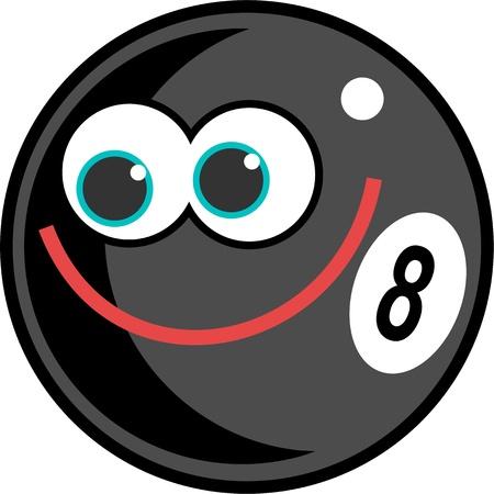bola de billar: Bolas de pool Linda caricatura eightball con una cara sonriente feliz. Foto de archivo