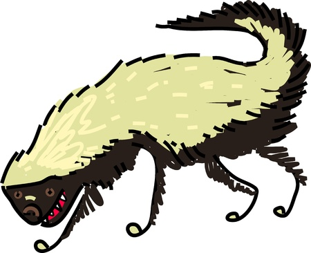 badger: Whimsical illustration of a hungry honey badger isolated on white.