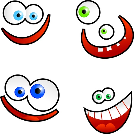 toothy smile: Collection of cute cartoon emoticon faces isolated on white.