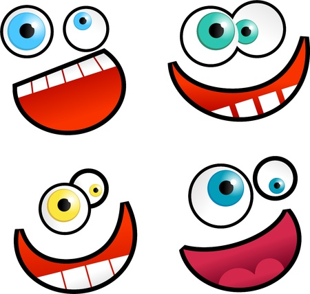 Collection of cute cartoon emoticon faces isolated on white. Stock Photo - 10668237