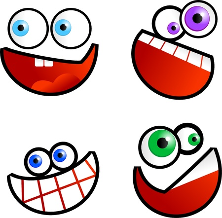 smilling: Collection of cute cartoon emoticon faces isolated on white.