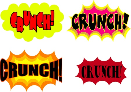 crunch: A collection of comic book cartoon sound effects isolated on white. Stock Photo