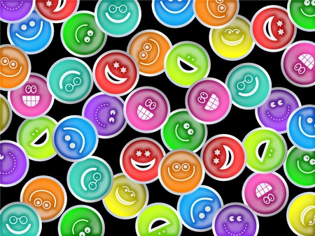 Cute and colourful happy smiling faces forming a wallpaper background design.