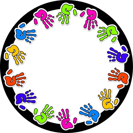 Circular photo border design surrounded by colourful hand prints. photo