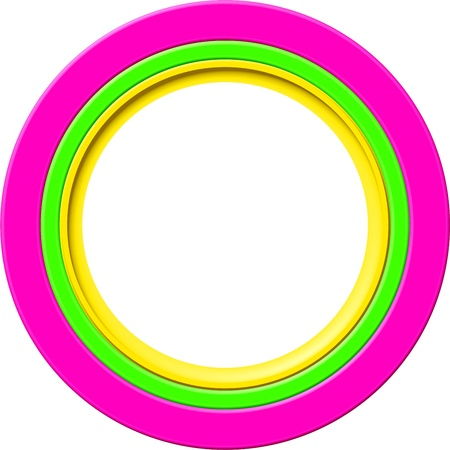 Simple bevelled 3d picture frame border in pink, green and yellow rings. Stock Photo - 10823090