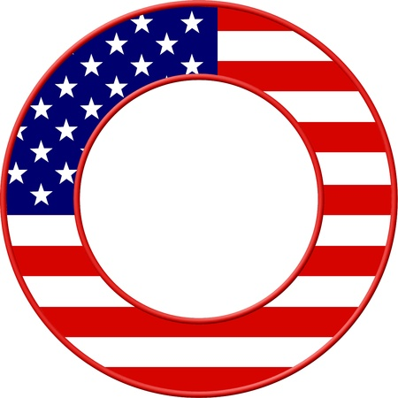 bevel: American flag set in a circular picture frame border design.