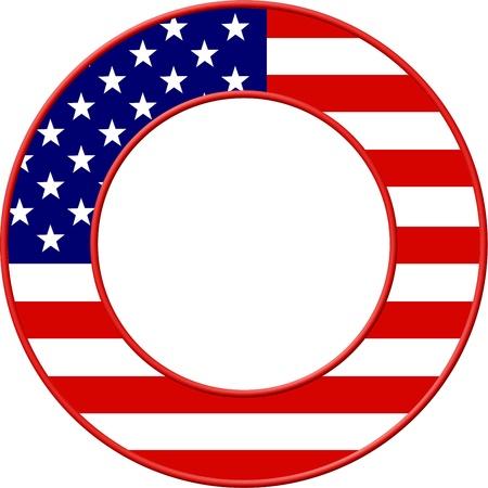 american flags: Bandera de Estados Unidos situado en un dise�o de borde de imagen son redondos. Foto de archivo
