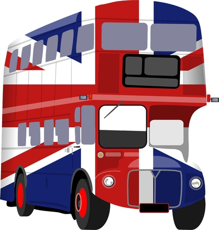 uk flag: Simple graphic illustration of a London double decker bus designed in Union Jack livery isolated on white.